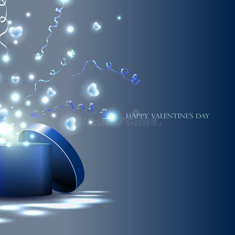Caisson lumineux et coeurs, flammes, cadeau pour les vacances Coeur illustration de vecteur