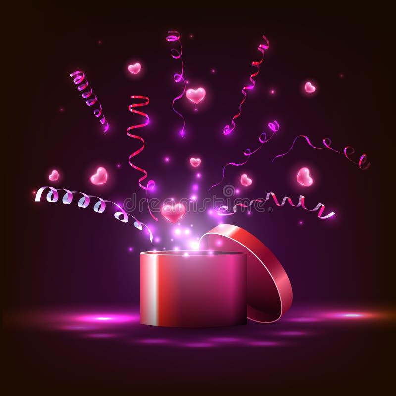 caisson lumineux et coeurs roses, flammes, cadeau pour les vacances illustration stock