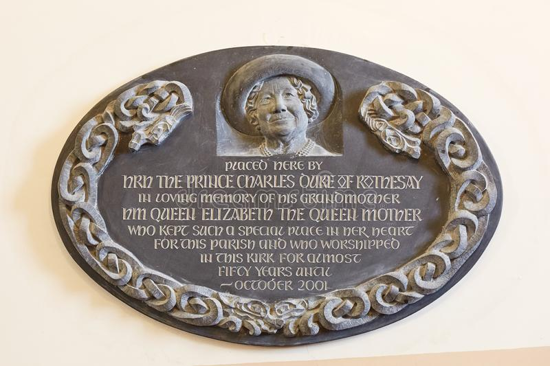 Sign and memorial to Queen at Canisbay church, the most northerly parish church on the Scottish mainland, near John O`Groats stock photography