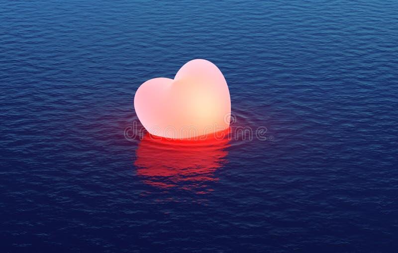 Caiu o coração que flutua sobre a água imagens de stock
