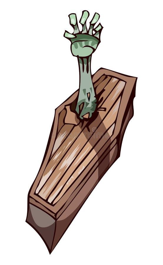 Caixão com mão do zombi, ilustração do vetor ilustração stock