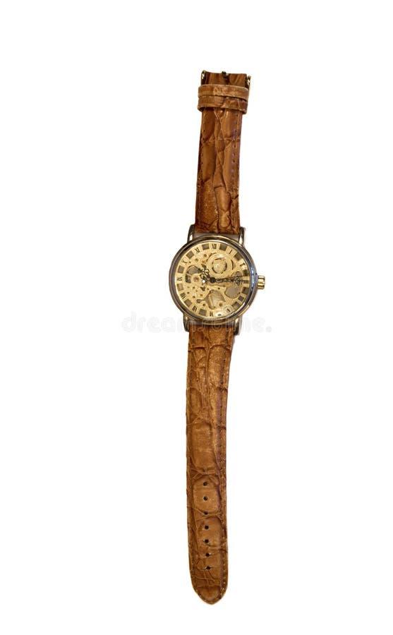 Caixa à moda do ouro do relógio de pulso isolada no fundo branco imagens de stock