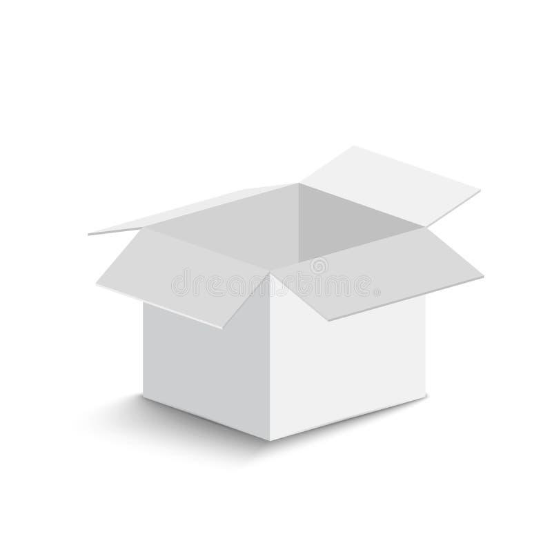 Caixa aberta branca no fundo branco caixa aberta com sombra Ilustração do vetor fotografia de stock