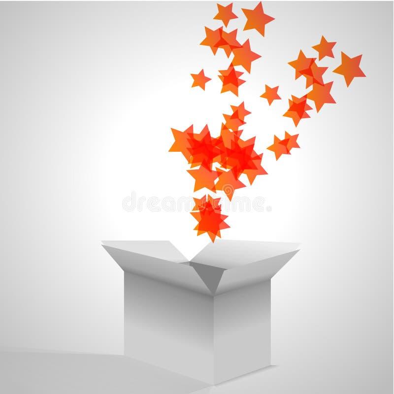 Caixa aberta com explosão das estrelas ilustração royalty free