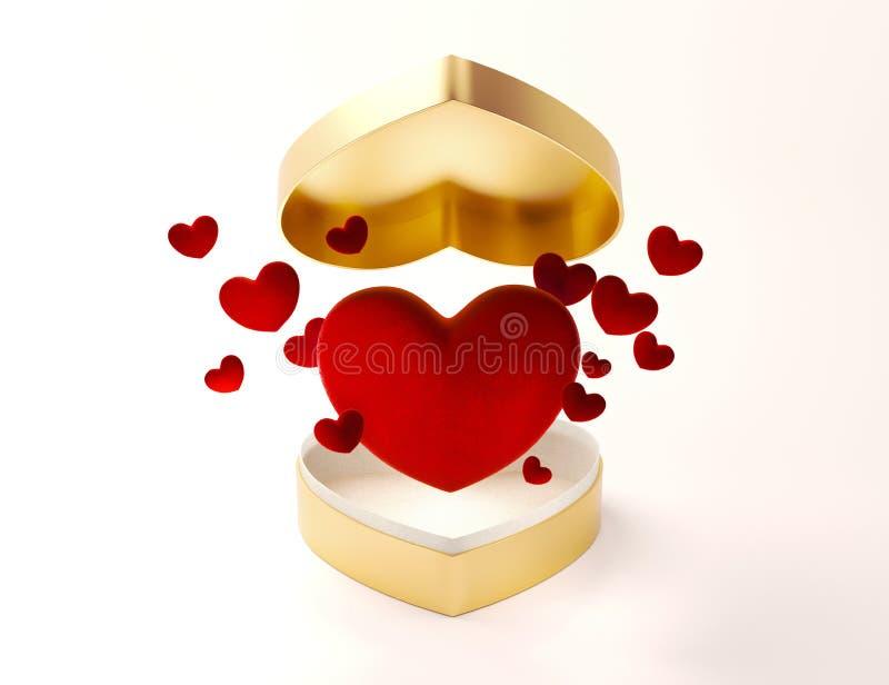 Caixa aberta do coração dourado com corações do voo para o dia de Valentim ou o dia especial no conceito do amor Caixa de present ilustração royalty free