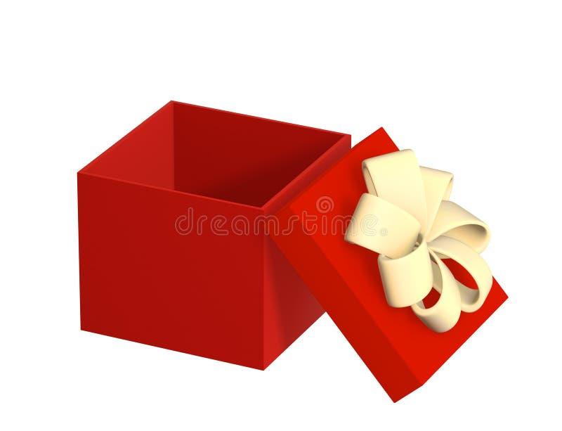 Caixa aberta do presente 3d da cor vermelha ilustração do vetor