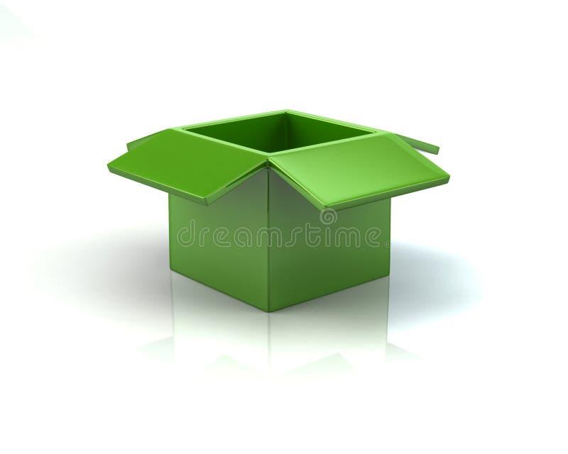 Caixa aberta do verde ilustração do vetor