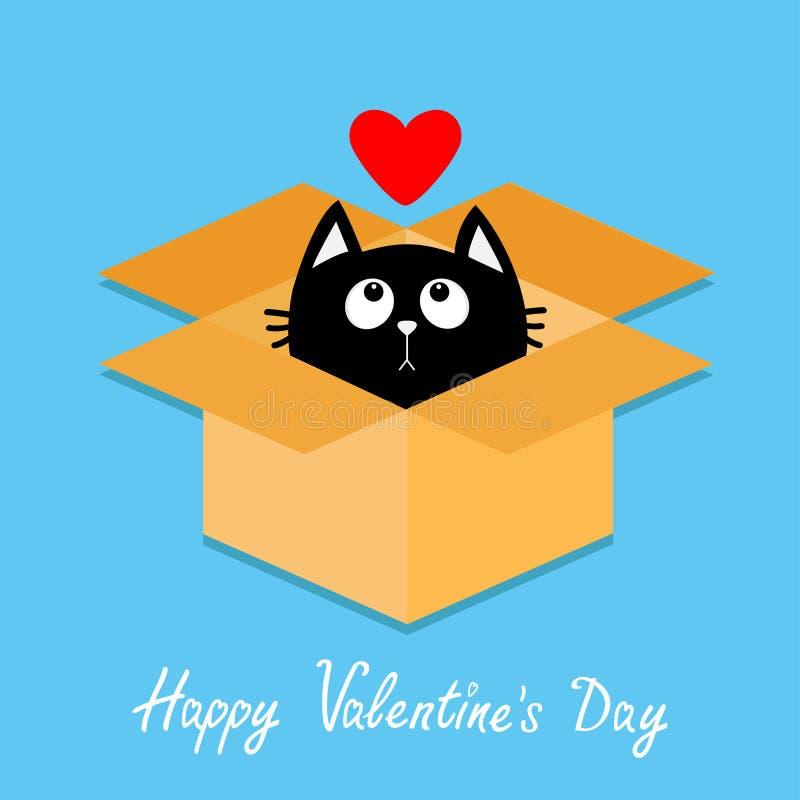 Caixa aberta interior do pacote do cartão do gato Gatinho que olha acima ao coração vermelho Estilo liso feliz do projeto do dia  ilustração do vetor