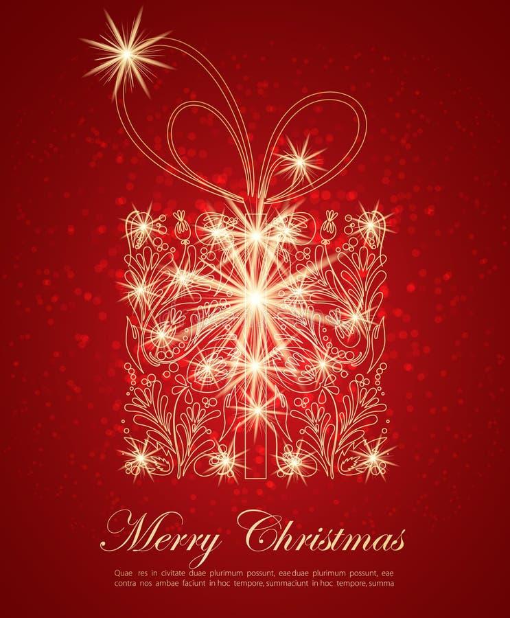 Caixa abstrata do presente de Natal ilustração royalty free