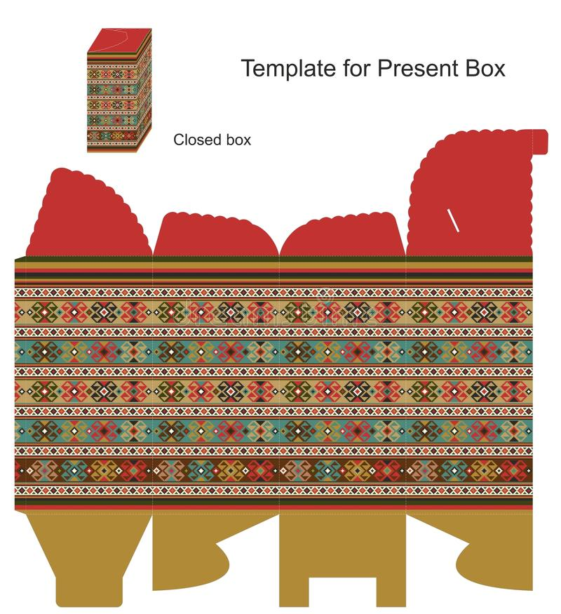 Caixa atual com ornamento étnicos ilustração do vetor