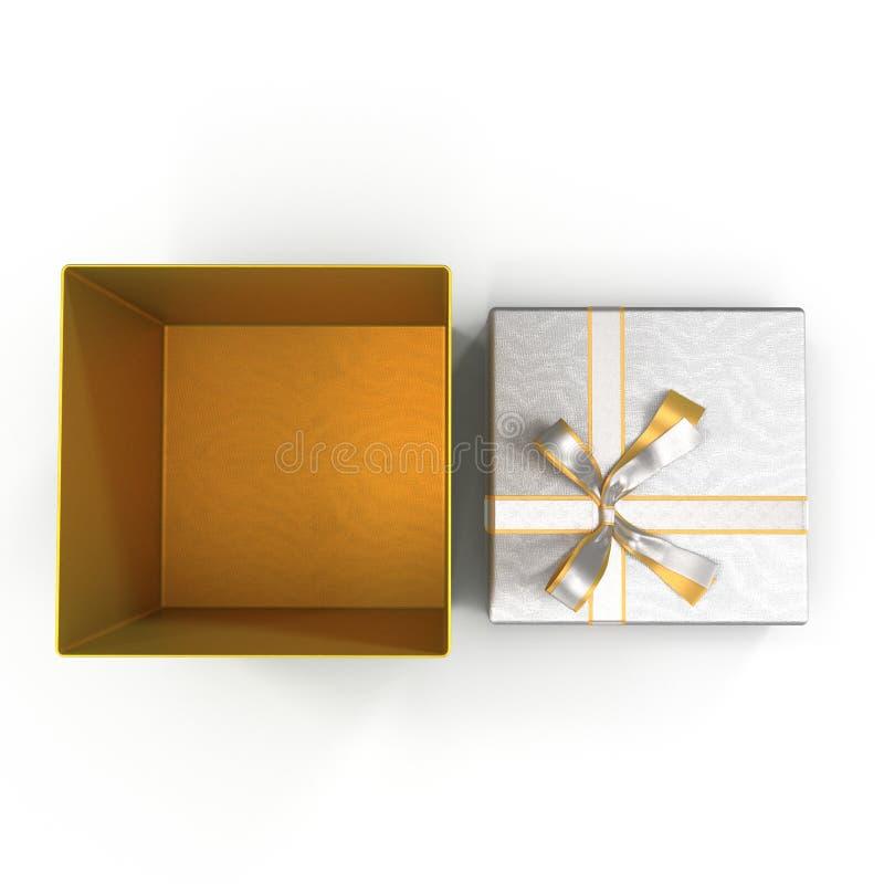 Caixa atual vazia com a curva opressivamente de prata isolada no branco Vista superior ilustração 3D ilustração do vetor