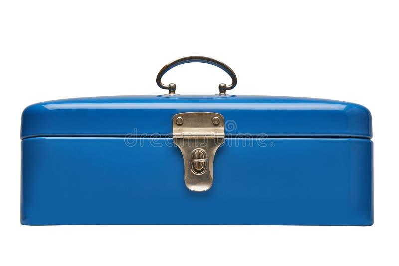 Caixa azul do metal do vintage velho e pesado imagem de stock