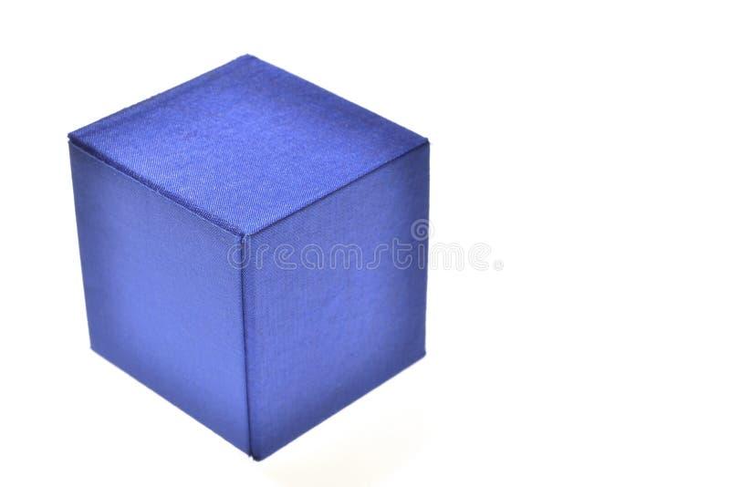 Caixa azul isolada imagens de stock royalty free