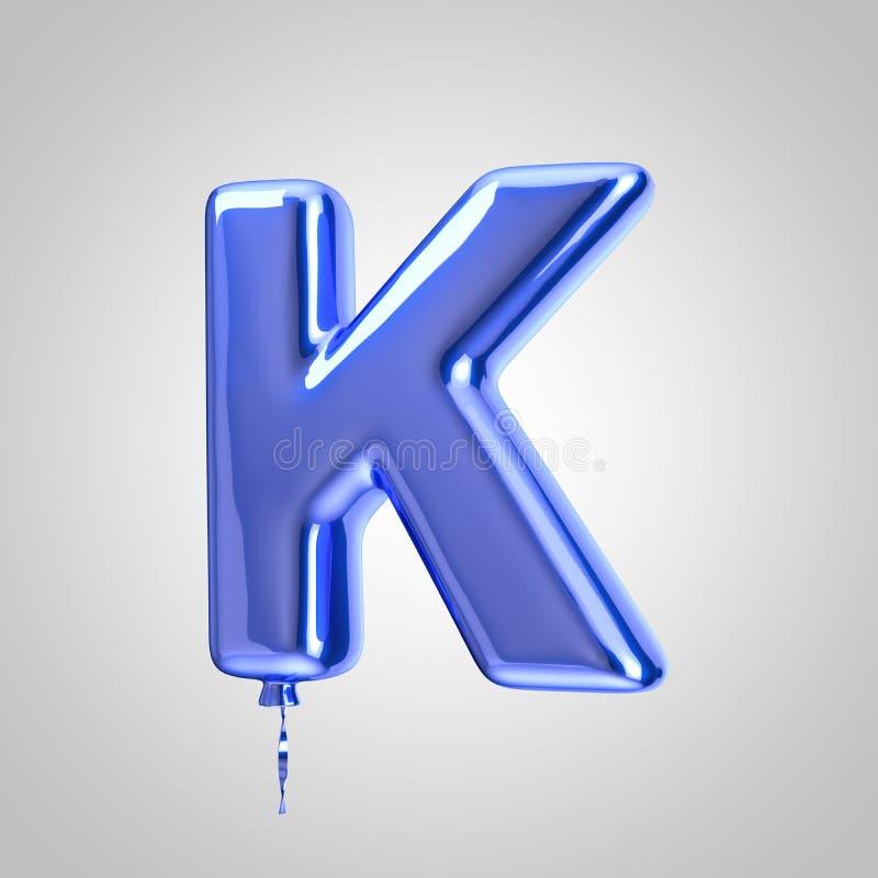 Caixa azul metálico brilhante da letra K do balão isolado no fundo branco ilustração do vetor