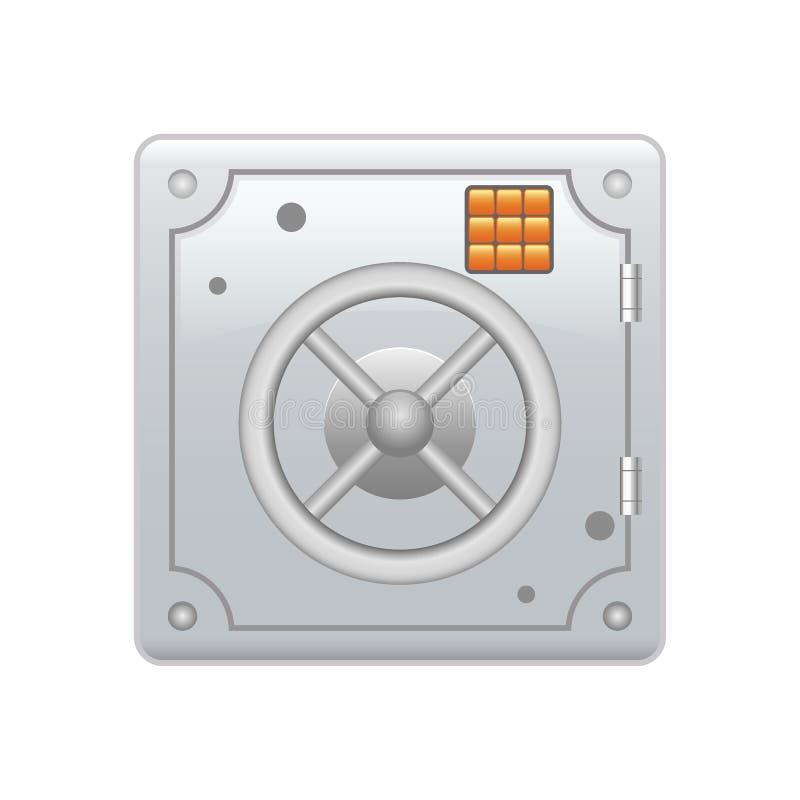 Caixa blindada segura de aço com um fechamento de combinação Proteção de dados segura Economias a longo prazo Ícone do cofre ilustração do vetor