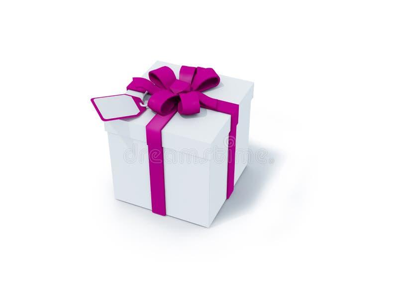 Caixa branca com fita roxa ilustração stock