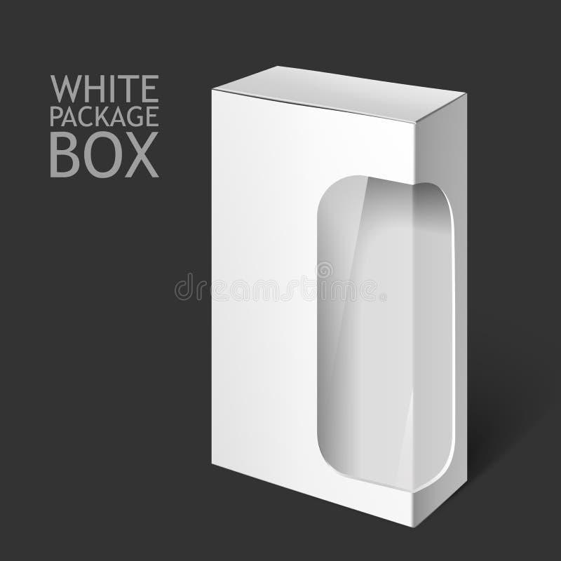 Caixa branca do pacote com janela Molde do modelo ilustração do vetor