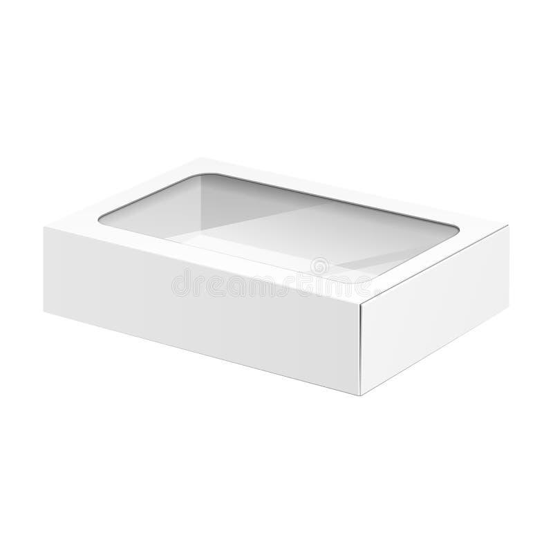 Caixa branca do pacote do cartão do produto com janela ilustração do vetor