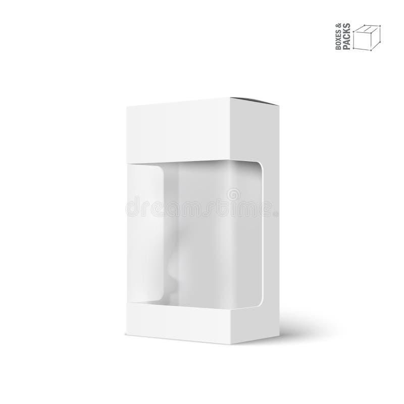 Caixa branca do pacote do produto de vetor com janela ilustração do vetor