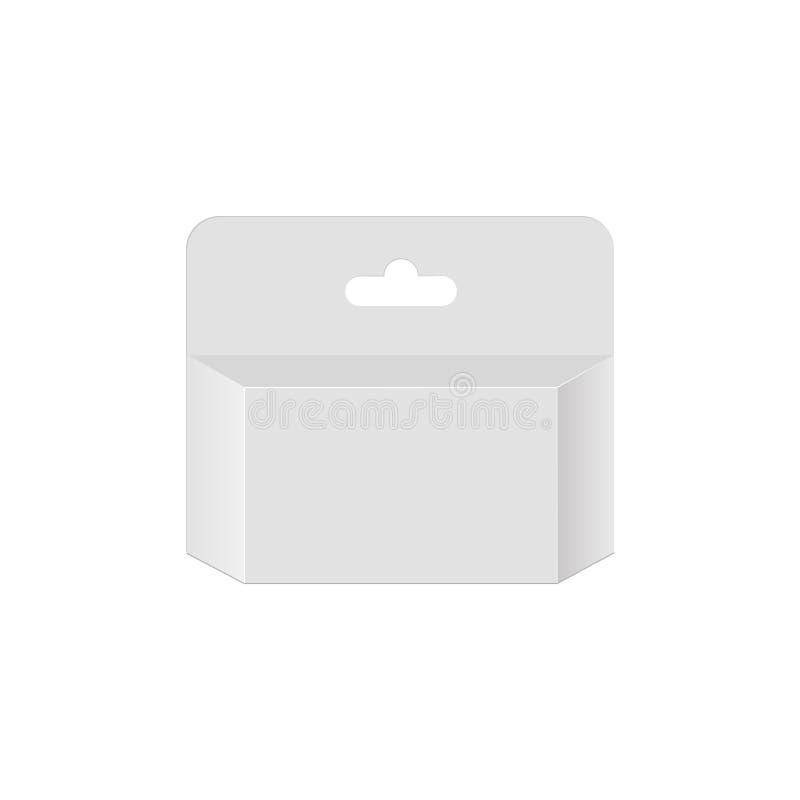 Caixa branca do pacote do produto do cartucho de tinta da impressora com entalhe do cair Vector o molde ascendente trocista pront ilustração do vetor