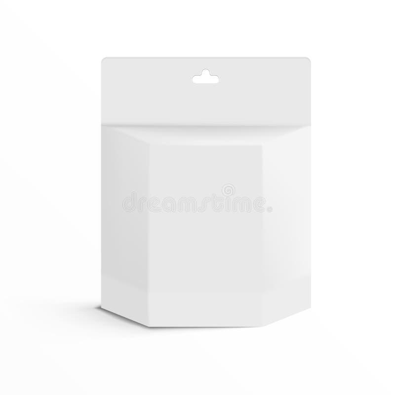 Caixa branca realística do pacote de Ink Cartridge Product da impressora 3D com Hang Slot ilustração royalty free