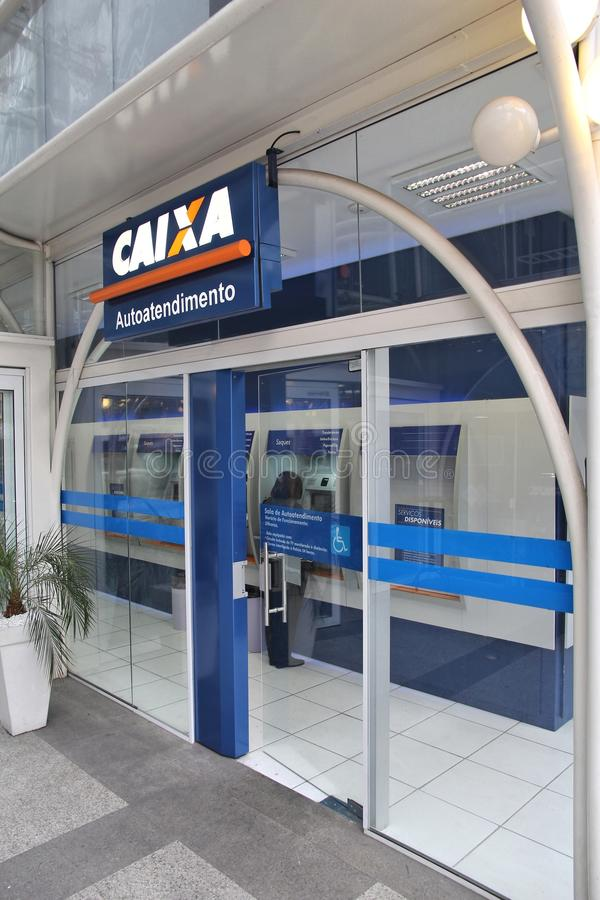Caixa, Brazil. CURITIBA, BRAZIL - OCTOBER 7, 2014: Caixa Economica Federal Bank branch in Curitiba. Caixa is the 4th largest bank in Brazil by assets some 630 royalty free stock images