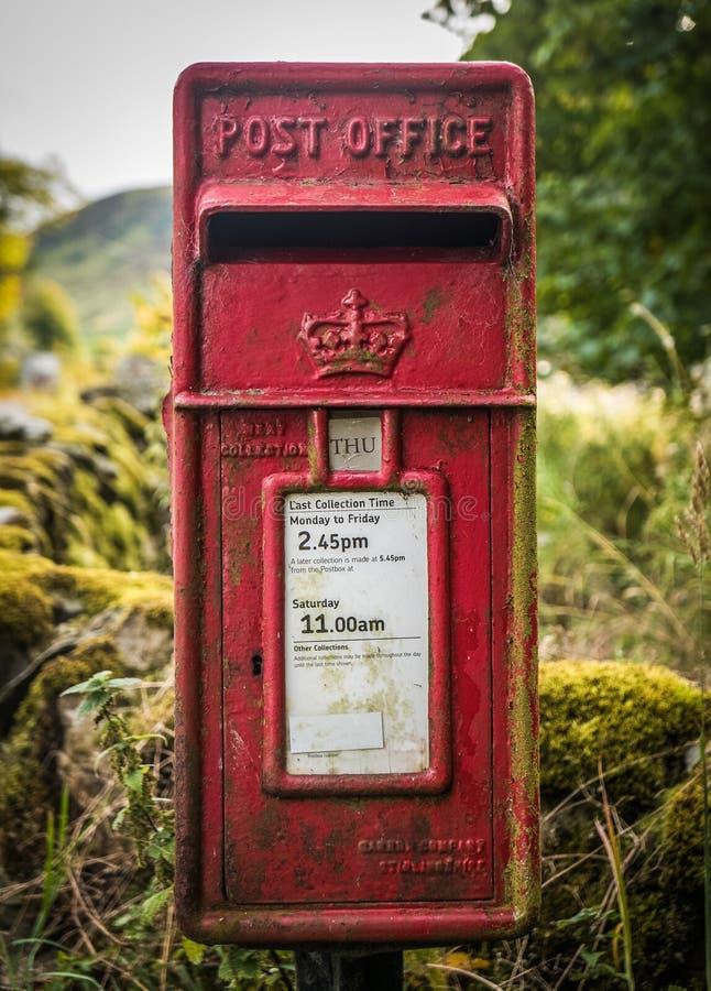 Caixa britânica rural do cargo do vintage fotografia de stock