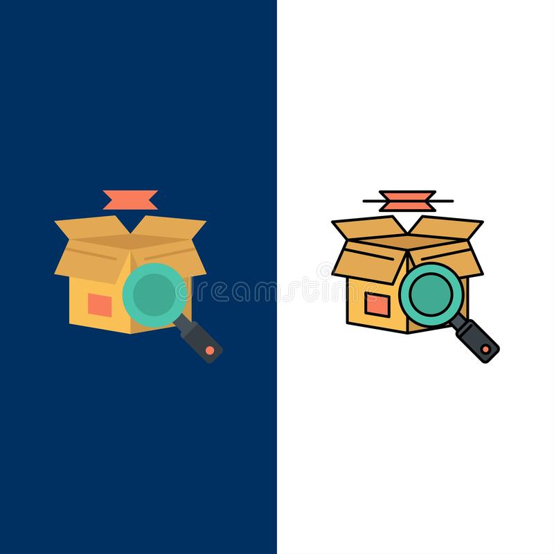 Caixa, busca, busca em linha, ícones da compra de E O plano e a linha ícone enchido ajustaram o fundo azul do vetor ilustração do vetor