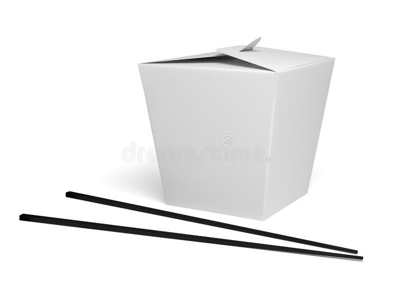 Caixa chinesa do alimento com fundo branco ilustração stock