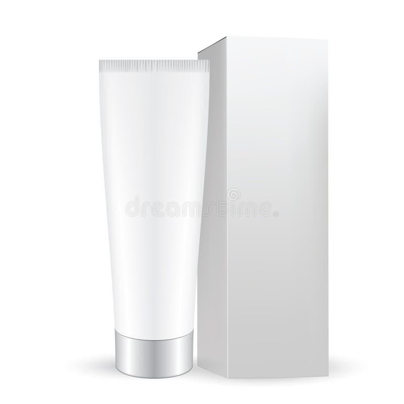 Caixa cinzenta branca com o tubo cosmético cinzento branco com tampão ilustração royalty free