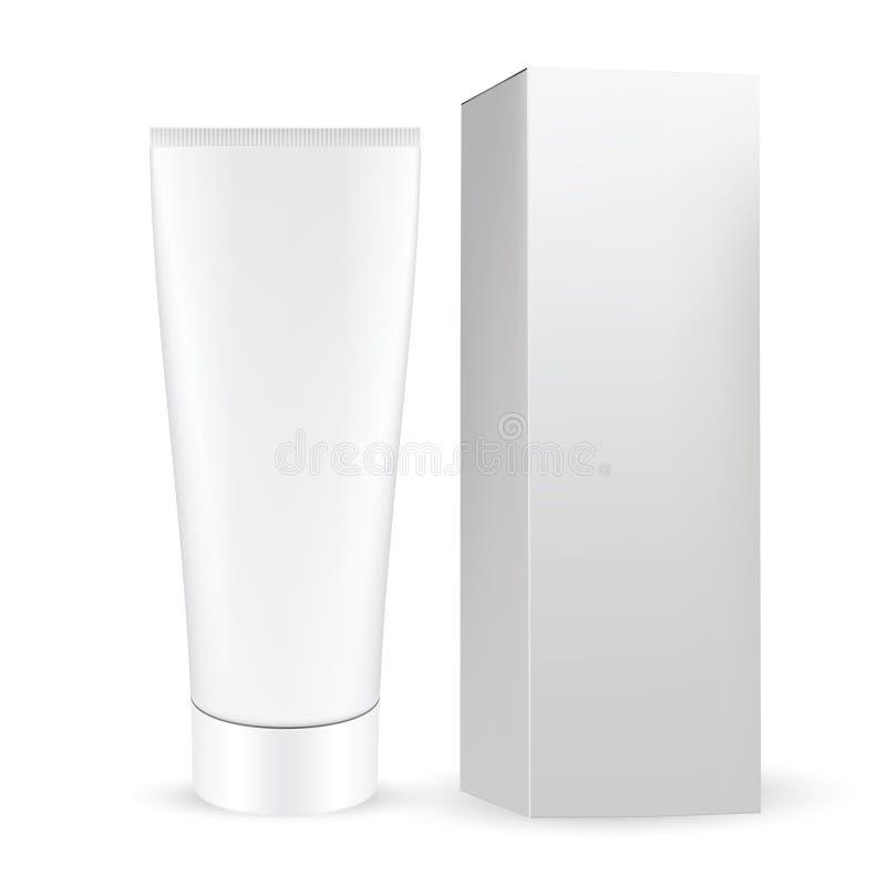 Caixa cinzenta branca com o tubo cosmético cinzento branco com a torção para abrir o tampão ilustração royalty free