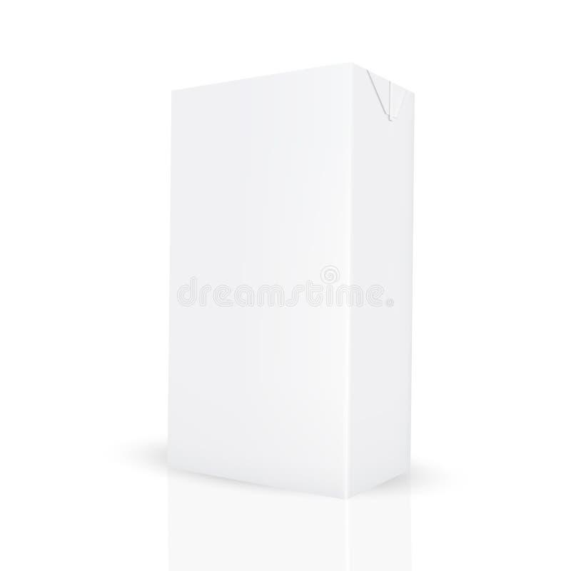 A caixa cinzenta branca da caixa para o líquido gosta do suco/leite ilustração stock
