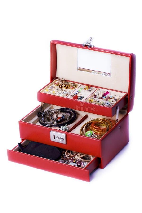 Caixa com acessórios e jóia foto de stock