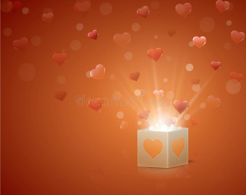 Caixa com corações ilustração royalty free