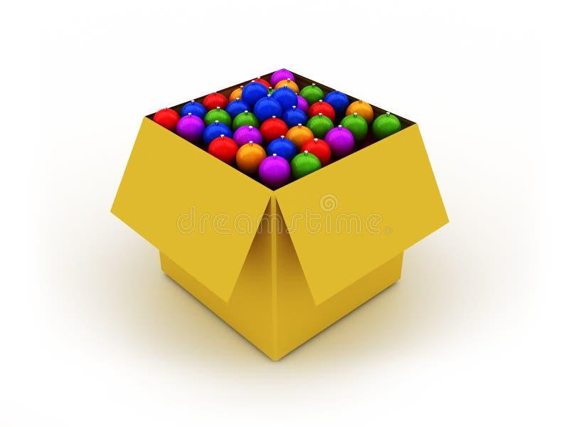 Caixa com esferas do Natal ilustração do vetor
