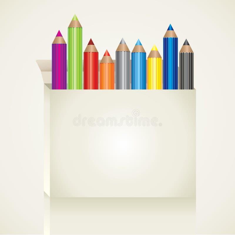 Caixa com lápis da cor ilustração royalty free