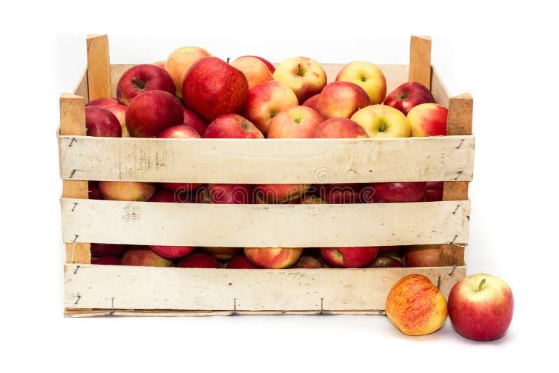 Caixa com maçãs imagens de stock royalty free