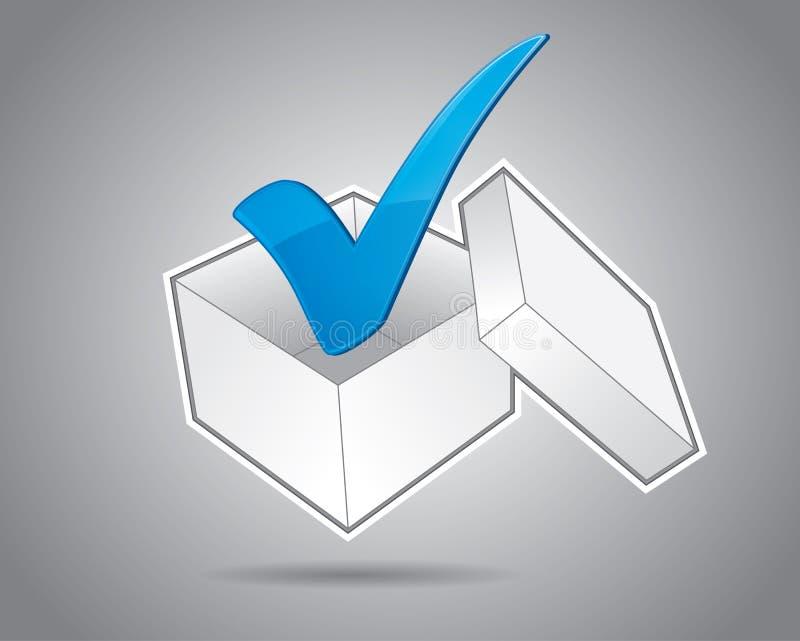 Caixa com marca de verificação ilustração stock