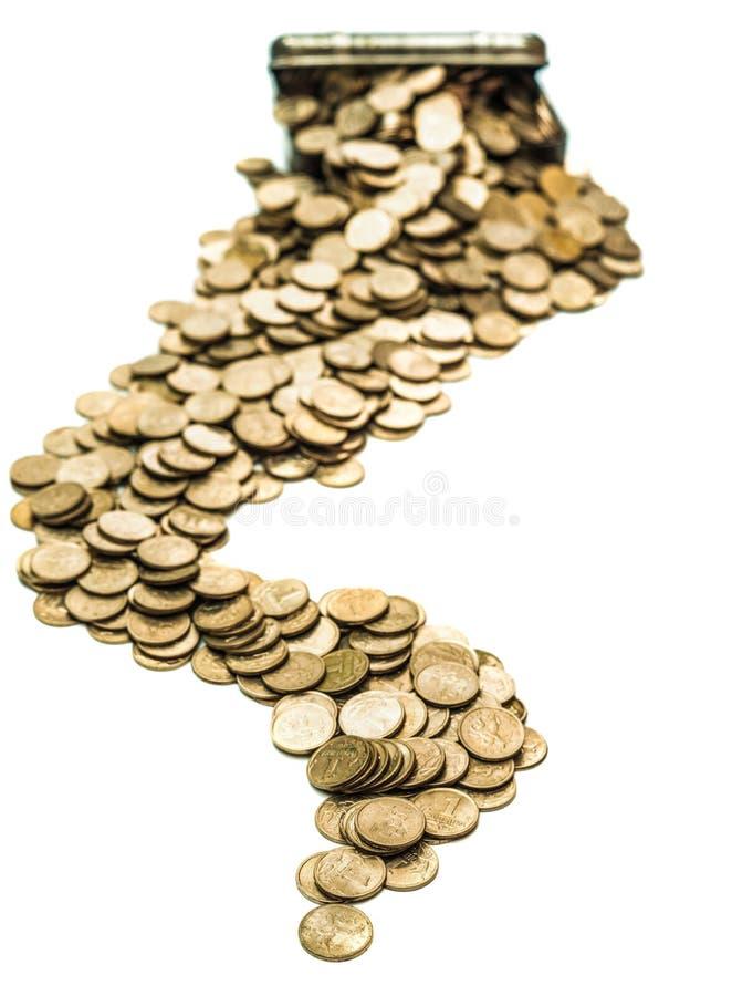 Caixa com moedas imagens de stock