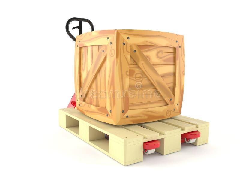 Caixa com o caminhão de pálete da mão ilustração do vetor