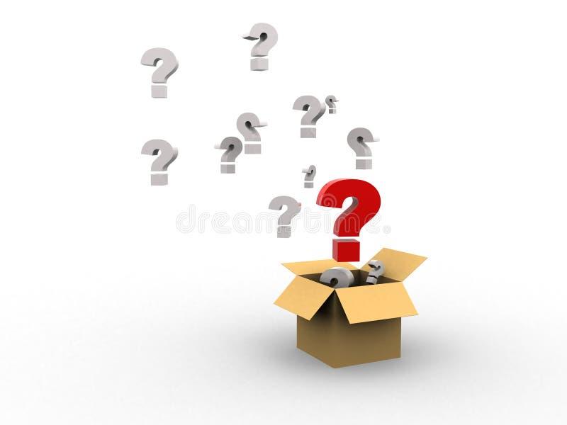 Caixa com pontos de interrogação imagens de stock