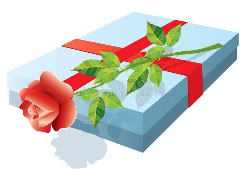 A caixa com um presente e levantou-se. ilustração royalty free