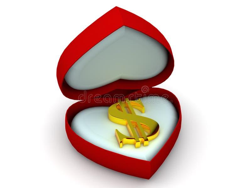 Caixa como o coração com dólar ilustração stock
