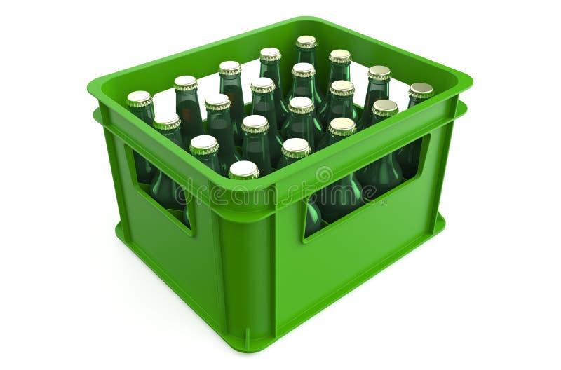 Caixa completamente com garrafas de cerveja ilustração royalty free