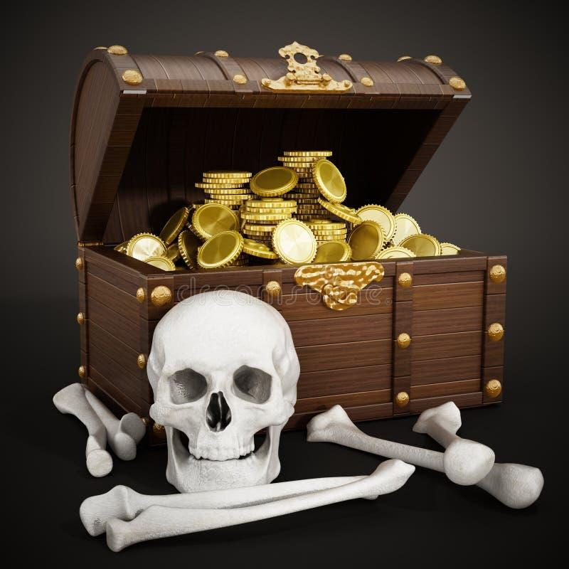 Caixa completamente do ouro, do crânio e dos ossos ilustração 3D ilustração royalty free