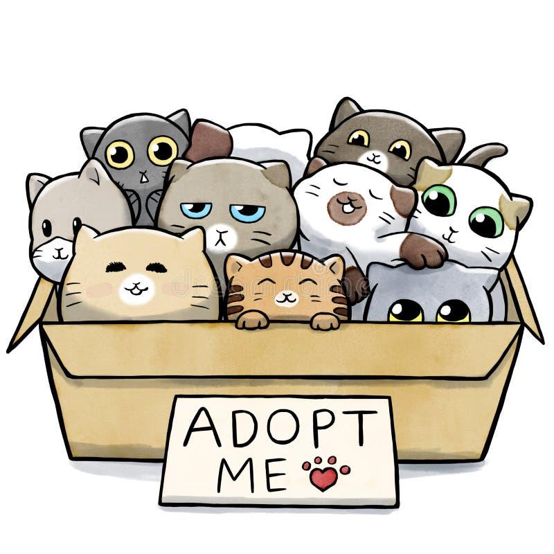 Caixa completamente dos gatos para a adoção ilustração do vetor