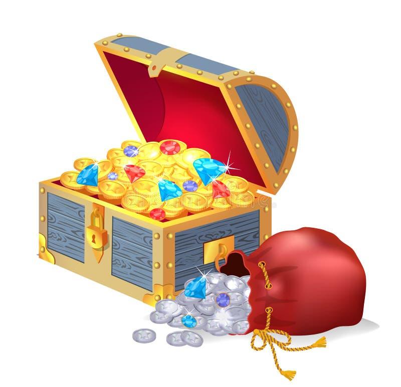 Caixa completamente dos tesouros e do saco das moedas de prata ilustração do vetor