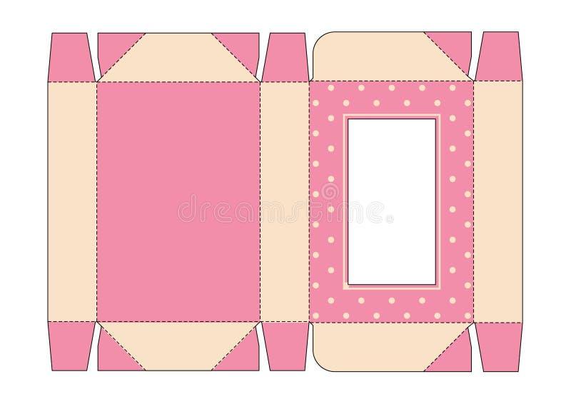 Caixa cortada com a tampa em cores cor-de-rosa do vintage com janela ilustração stock