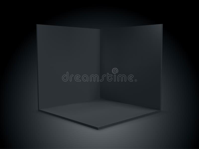 Caixa 3D do cubo, sala de canto dentro do seção transversal interior Caixa geométrica vazia transparente do cubo do quadrado 3D d ilustração royalty free