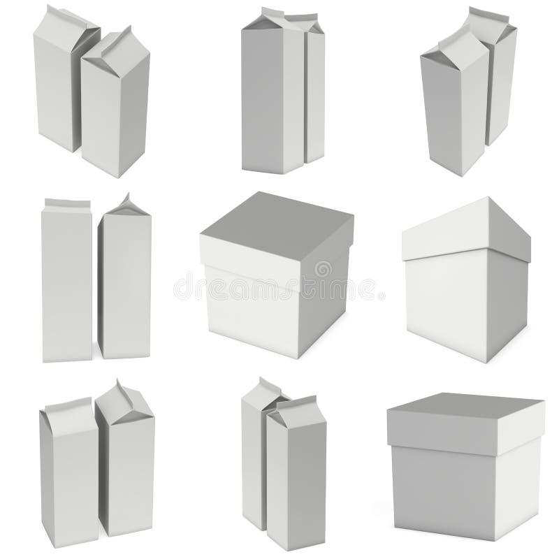 Caixa 3d do leite ou do suco ilustração stock